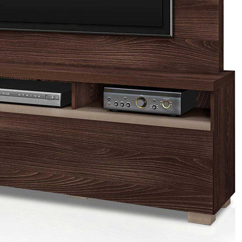 Estante Home Theater Volare 1 Gaveta - DJ Móveis  Rovere marsala/hunter