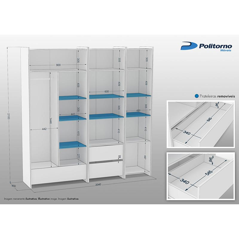 Kit Closet Diamante 03 - Politorno Branco