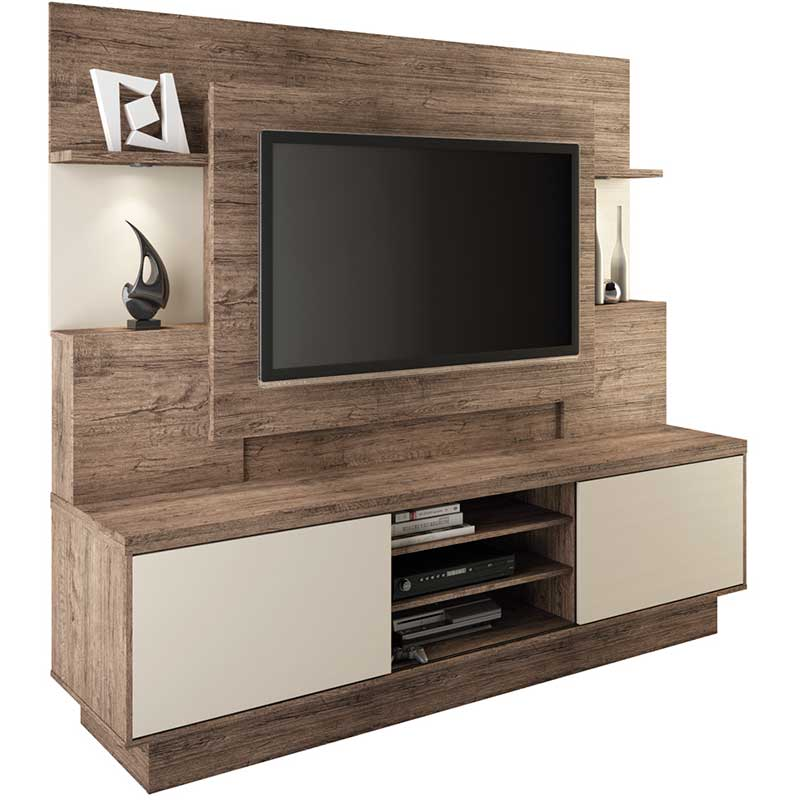Estante Home Theater Aron - Linea Brasil Naturale/fendi wood