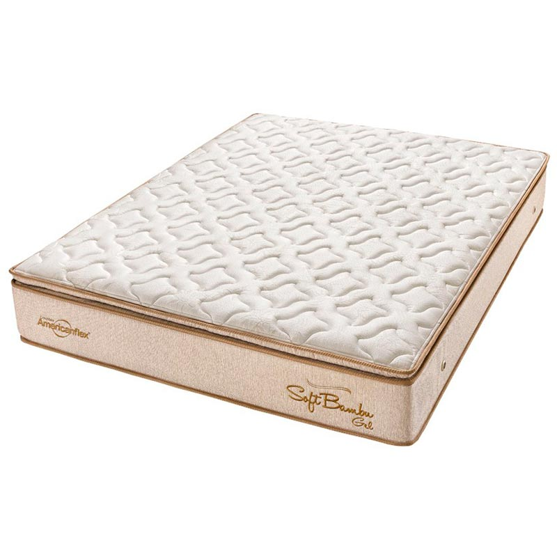 Colchão King Pillow Top Soft Bambu Gel One Face - Americanflex - Bege