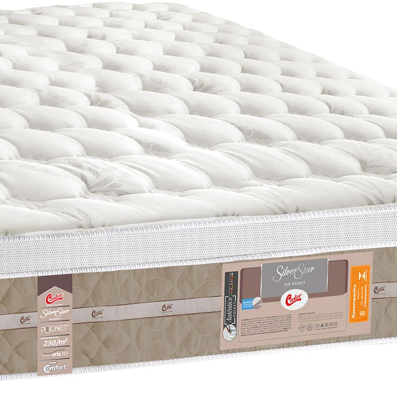 Colchão Silver Star Air Pocket One Face 193x203x32 - Castor - Palha / Bege