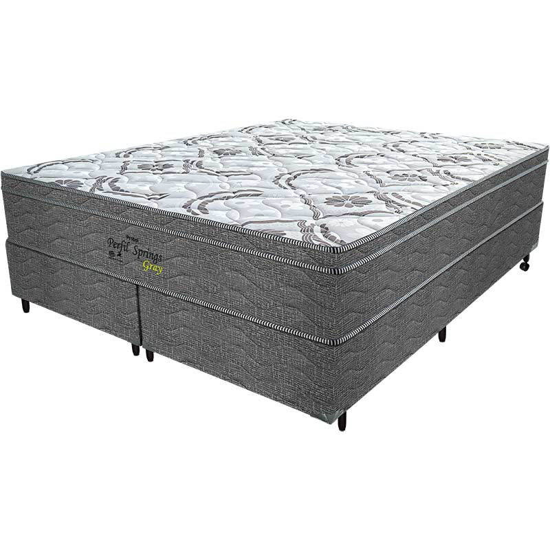 Cama Box Queen Springs Gray 56x158x198 - Probel - Branco / Grafite / Prata