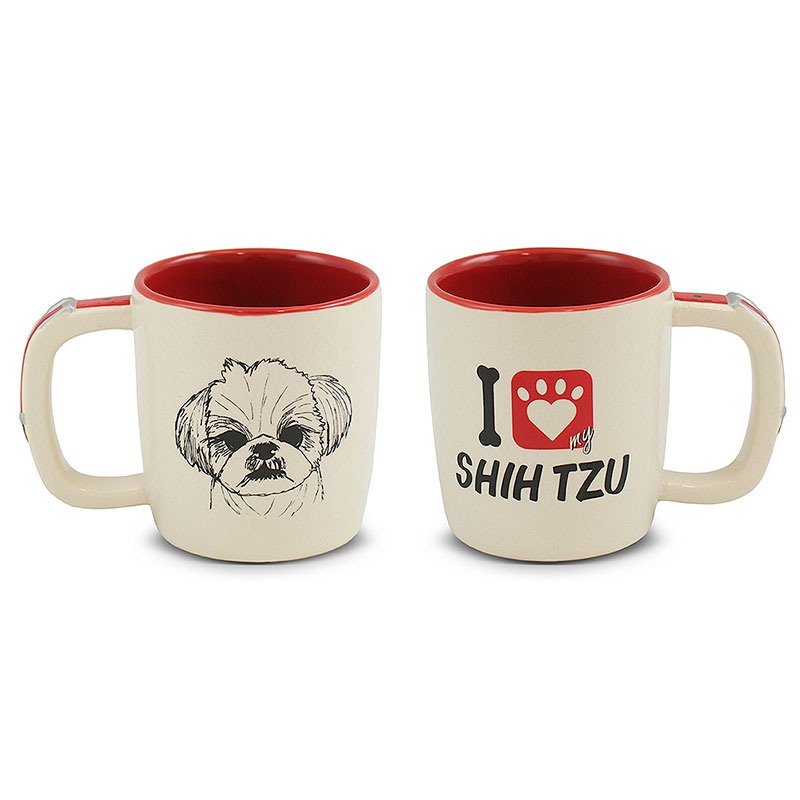 Caneca Pet-Shith Tzu 350ml -Mondoceram - Creme