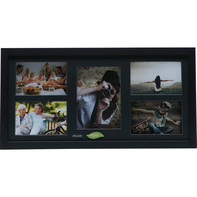 Painel Collection para 4 fotos 10x15 e 1 foto 13x18 - Woodart Preto